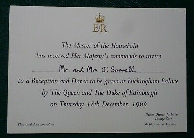 Antique Royal Invitation to Dance Hosted by Queen Elizabeth II Post Clerk 1969
