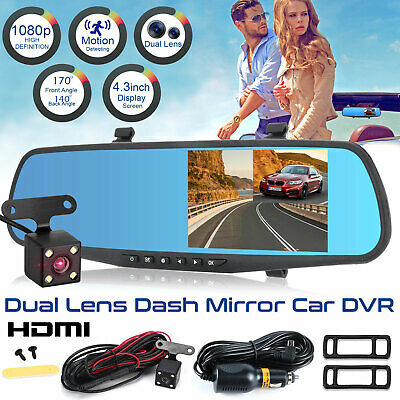 HD Dual Lens Car DVR Dash Cam Front & Rear Mirror Camera Video Recorder