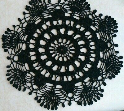 Black crochet doily, Lace round tablecloth, Handmade table topper, Large doily