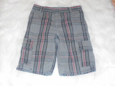Dickies Boys Sz. 10 Plaid Cargo Shorts Gray/Black