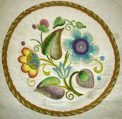 Vintage Large Hand Embroidered Unframed Round Linen Picture Jacobean Flowers