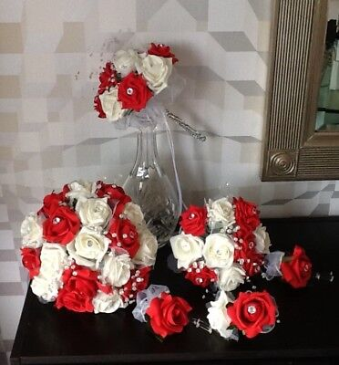 Wedding Flowers Brides Ivory & Red Foam Rose Bridal Bouquets/Buttonhole Package