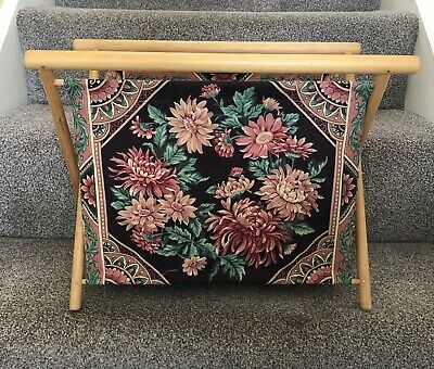 Vintage Wooden Fabric Floral Magazine Rack Sewing Knitting Bag Storage