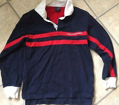 Boys Ralph Lauren Polo Sport Navy T-Shirt Top  Age 9 To 10 Vtg 90s Rugby