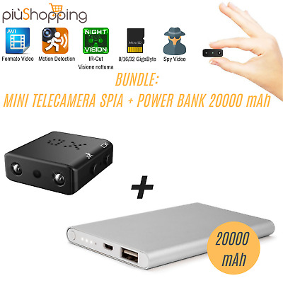 Telecamera Spia Mini Camera Microcamera Infrarossi Full Hd + Batteria Power Bank