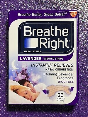 26 Breathe Right Lavender Scented Drug-Free Nasal Strips for Congestion Relief