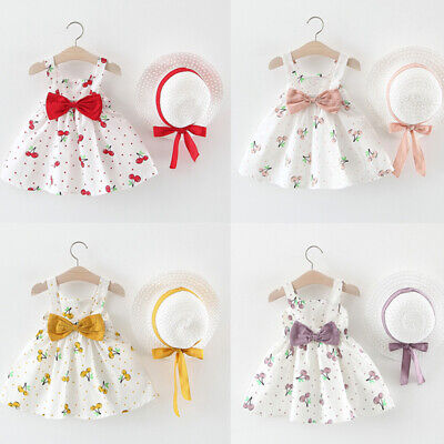 Toddler Baby Kid Girls Sleeveless Dot Holiday Princess Dress Bow Hat Outfits Set