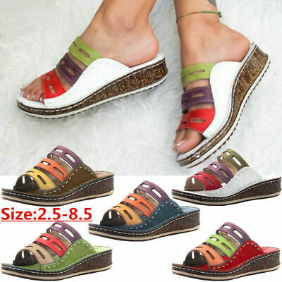 Womens Ladies Wedg Slip On Sandals Summer Low Heel Open Toe Mules Shoes Size 3-8