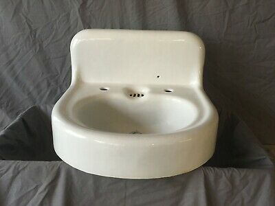 Antique Cast Iron White Porcelain High Back Bathroom Wall Sink Old Vtg 103-19E