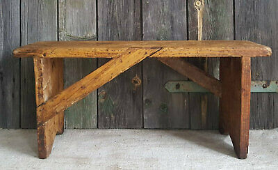 Authentic Antique Vintage French Primitive Wooden Stool / Bench ~ Mortise Legs