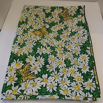 Vintage '70's Fabric 70X50  Butterfly & Daisy Summer Table Cloth, Grn/Wht/Yel