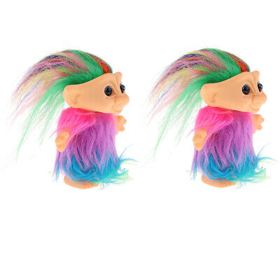 2x Chromatic Lucky Troll Doll Dams Mini Action Figures with Colorful Hair