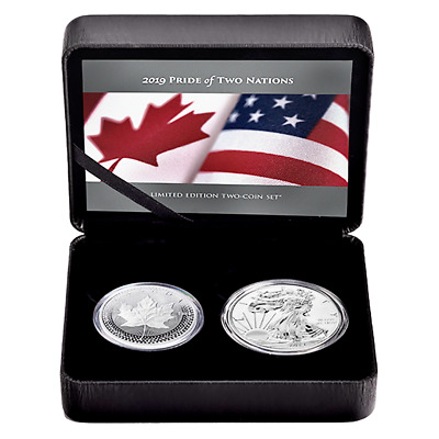 2019 Pride of Two Nations Silver 2pc. Canada Set Box OGP & COA