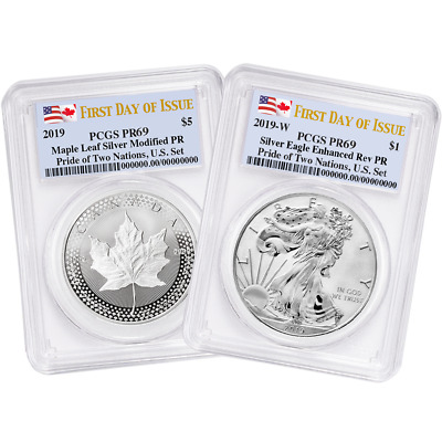 2019 Pride of Two Nations 2pc. Set U.S. Set PCGS PR69 FDOI Dual Flag Label