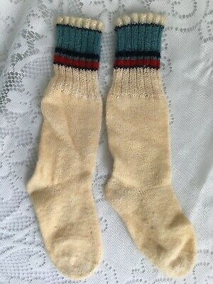 Neat Antique Vintage Child/Toddler Wool Knee High Socks W/Stripes