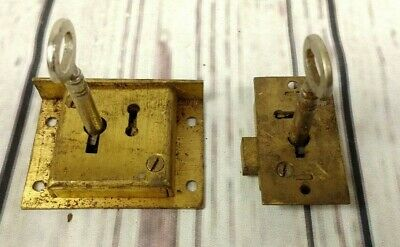 """Pair of Vintage Brass Cabinet Lock with Keys Working 2"""" and 1.5"""""""