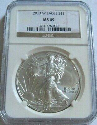 2013-W NGC MS69 BURNISHED AMERICAN SILVER EAGLE ~Brown Label~