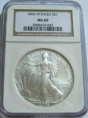 2006-W NGC MS69 Key-Date BURNISHED AMERICAN SILVER EAGLE ~Classic Brown Label~