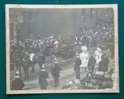 Large Antique Royal Photo King Edward VII in Top Hat Queen Alexandra in Carriage