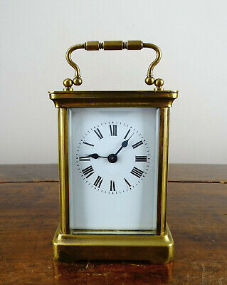 Antique French Travel Brass Carriage Clock by Duverdrey & Bloquel c1910