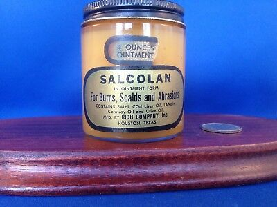 Vintage Rich Oil with Salcolan, Quack First Aid Treatment Ointment 4 oz