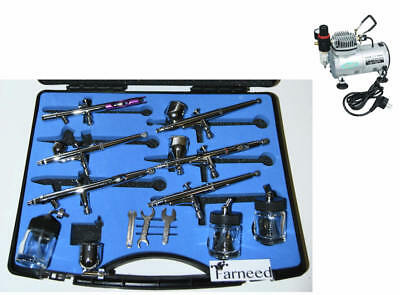 Kit Airbrushing Airbrush 6 Airbrushes Double Action 13 Pcs Compressor As 18-1