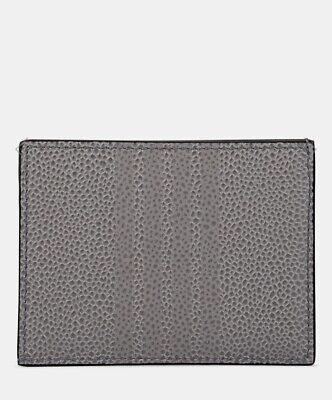 $480 NWT New Thom Browne 4 Bar Dark Grey Gray Card Case Leather Authentic