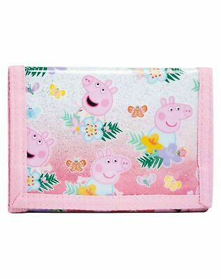 Official Peppa Pig Girls Glitter  Trifold Money Change Notes Wallet Gift New