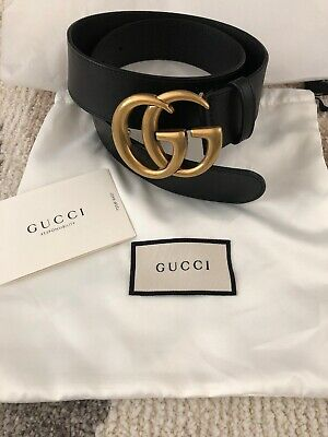 c80914986 GUCCI 790$ AUTHENTIC New Brown Leather Belt With Double G Buckle ...