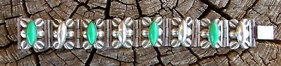 Vintage Taxco Mexico Sterling Silver Modernist Green Stone 7 inch Bracelet 54.3g