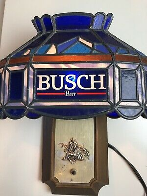 BUSCH BEER SIGN TIFFANY FAUX STAIN GLASS PUB LIGHT POOL Bar Wall Sconce LAMP