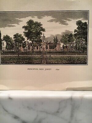 19th CENTURY LITHOGRAPH PRINCETON, N.J., 1850 COLLEGE UNIVERSITY HAND COLORED