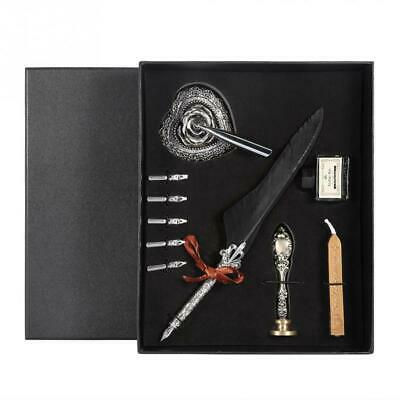 European Retro Quill Alloy Feather Writing Dip Pen With Pen Nibs Gift Box SM4T4