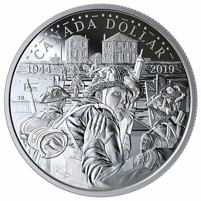 2019 Canada 75th anniversary of 1944 Dday Silver dollar 99.99% silver: all pkg