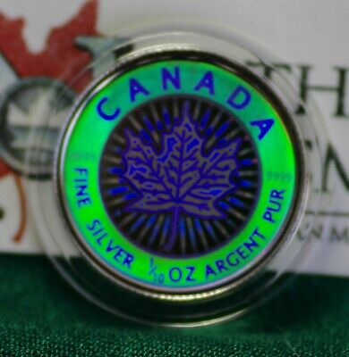 2003 CANADA $2 Hologram Silver Maple Leaf 1/10 oz Reverse proof 99.99% silver