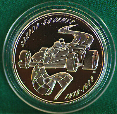 1998 Canada 50 cent Formula One - Villeneuve win! Sterling silver in metal case