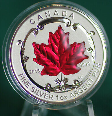 2015 CANADA $5 Incuse Silver Maple Leaf 1 oz Red enamel from Fractional set