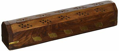 Wooden Coffin Incense Stick Cone Burner Holder Stand with Storage Compartment