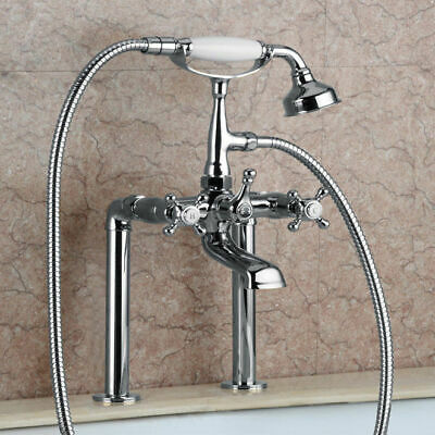 Old World Classic Style Deck Mounted Clawfoot Tub Filler Shower Solid Brass Tap