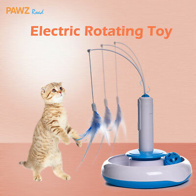Electric Pet Interactive Cat Funny Rotate Feather Teaser Toy Rabbit Puppy Toys