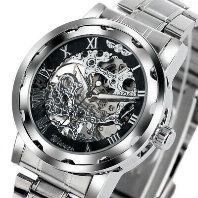 Automatic Mechanical Watch Men Wrist Watch Stainless Steel Band Skeleton Dial
