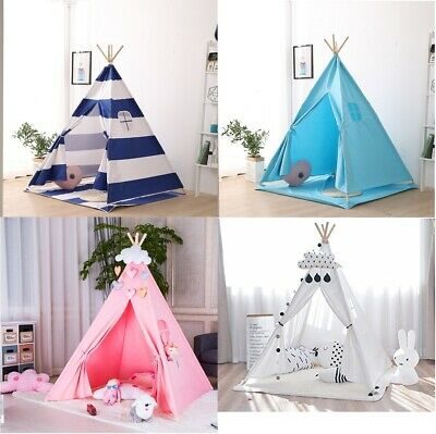Kids Tent Wigwam Teepee with Floor Mat Childrens Play House Indoor Outdoor White