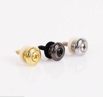 2 Pcs Guitar Strap Buttons Strap Locks Straplocks Mushrooms Heads Chrome T_TI