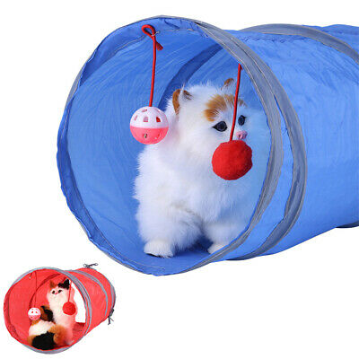 Pet Cat Kitten Tunnel Outdoor Game Toy Playing Tube With Tinkle Bell Plush Ball