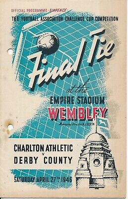 FA CUP FINAL PROGRAMME 1946 Derby County v Charlton Athletic - punch holes