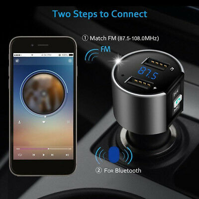 Handsfree Wireless Bluetooth Car FM Transmitter MP3 USB Charger for IOS Android
