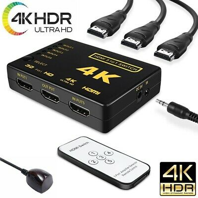 5 Port HDMI Switch Switcher 4K Selector Splitter Hub iR Remote For HDTV 3840p