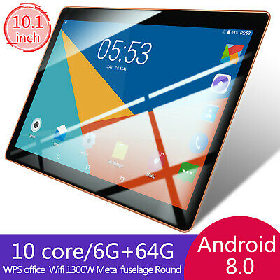 "10"" Inch 6GB+64GB HD Tablet PC Android 8.0 Ten Core Wifi Bluetooth 4.0 5.0MP New"
