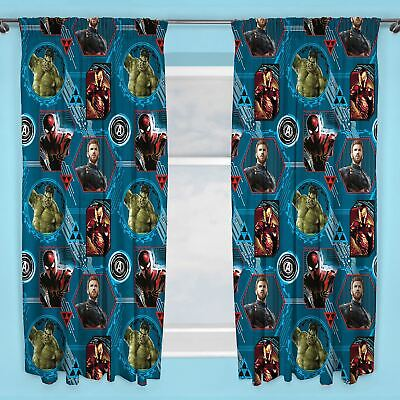 "Marvel Avengers Force Curtains Kids Bedroom 72"" Drop"