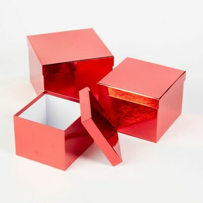 SET OF 3 SQUARE OASIS METALLIC SHEEN LINED HAT BOXES RED Flowers Gifts Crafts